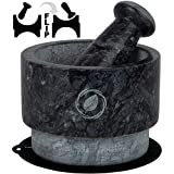 Mortar and Pestle Set Marble - 5.6 Inch, 17.5 Oz - Unique Double Sided - Pestle and Mortar Bowl Solid Stone Grinder - Guacamole Mortar and Pestle Large - INCLUDED: Silicone Lid/Mat and Spoon