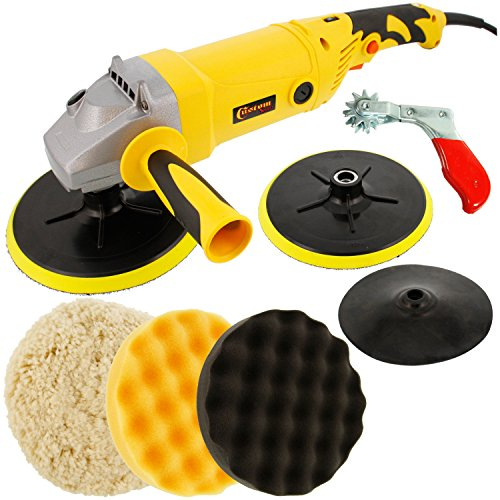 Deluxe Polishing Kit (Custom Shop Heavy Duty Variable Speed Polisher Now Included with a Free Professional 3 Pad (Waffle Foam & Wool) Buffing and Polishing Kit with 2 Waffle Foam & 1 Wool Grip Pads with 5/8
