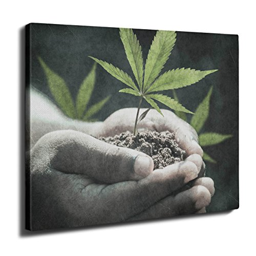 wellcoda Love Weed 420 Pot Rasta Plant Cannabis Wall Art Canvas