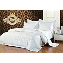Crown Royal Hotel Collection Export Quality 850 Thread Count Egyptian Cotton Twin Size Duvet Cover / Dona Cover With Button Closer White Solid