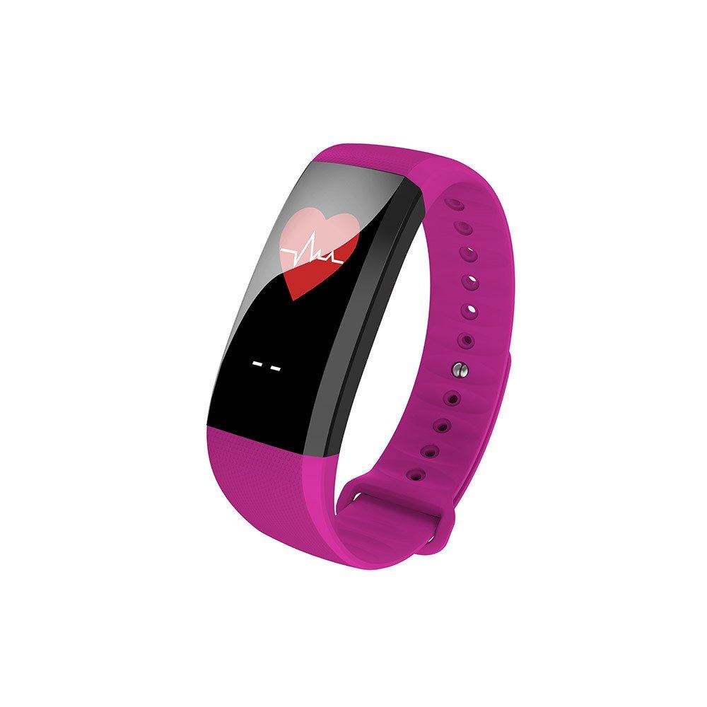 Color de la Pantalla Smart Pulsera Bluetooth Deporte Pulsera Tensiómetro de detección de frecuencia cardíaca, Morado: Amazon.es: Deportes y aire libre
