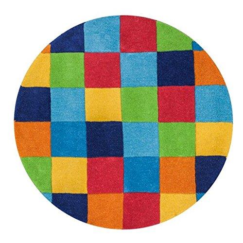 KAS Oriental Rugs Kidding Around Collection Boys Color Blocks Round Area Rug, 3' - Kidding Around Collection