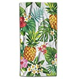 Moslion Leaf Bath Towel Hawaiian Pineapples Tropical Palm Leaves Flowers in Forest Jungle Towel Soft Microfiber Baby Hand Beach Towel for Kids Bathroom 32x64 Inch Green Yellow Pink