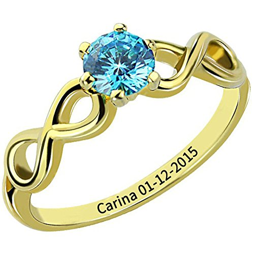 Ouslier 925 Sterling Silver Personalized Birthstone Infinity Name Ring with Engraving Inside (Golden) by Ouslier