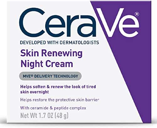 CeraVe Night Cream for Face   1.7 Ounce   Skin Renewing Night Cream with Hyaluronic Acid & Niacinamide   Fragrance Free
