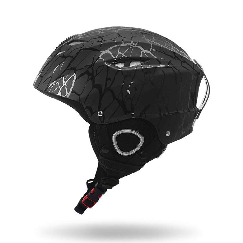 スノーボード&スキー用ヘルメット、スキー用保護安全スケートボードスケート用ヘルメットシングルボード、大人用、子供用、青少年用 ヘルメット L l ブラック B07QFL2L8W