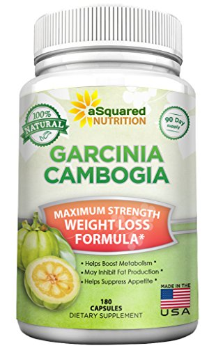 100% Pure Garcinia Cambogia Extract - 180 Capsule Pills, Natural Weight Loss Diet Supplement, Ultra High Strength HCA, Best Max XT Premium Slim Detox Tablet for Men & Women with Reviews, Extreme Lean! by aSquared Nutrition