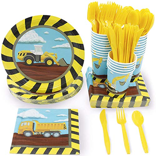 Juvale Kids Construction Birthday Party Supplies - Serves 24 - Includes Plates, Knives, Spoons, Forks, Cups and Napkins -