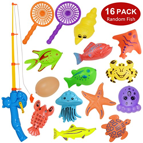 Bath Toy,16 Piece Magnetic Fishing Toy(Random Fish),Original Color Waterproof Floating Fishing Playset Bathtub Pool Bathtime Learning Education Toy for Kids Toddlers,Fishing Game for Kids Party Favors ()