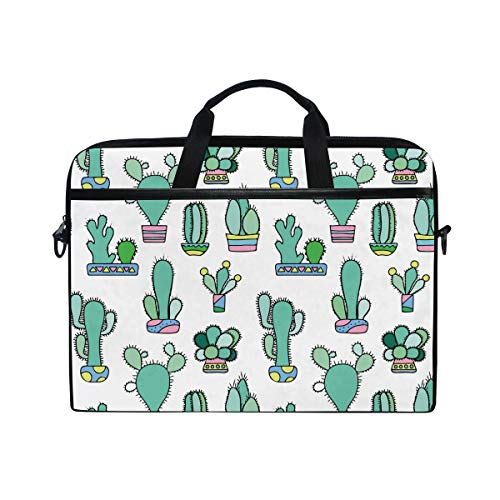 White Mint Cute Cactus Laptop Briefcase,15-15.4 Inch Laptop Bag,Business Office Bag Men Women,Stylish Nylon Multi-Functional Shoulder Messenger Bag Notebook Computer - 2 Hp White In 1 Laptop Tablet And