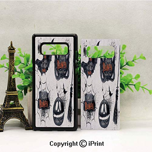(Case for Galaxy note8,Halloween Symbols Happy Holiday Witch Lives Here Broomstick Spider Web Decorative Shockproof Series TPU Bumper Protective Case for Samsung Galaxy note8, 2017 Release Print)