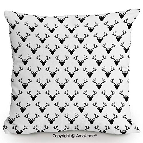 AmaUncle Summer Cushion Cover Printed Pillow Pattern with Deer Heads Silhouettes Horn Curvy Wildlife Forest Creative Design Print,W20xL20 Inches,Decorations Indoor/Outdoor Throw Cushion -