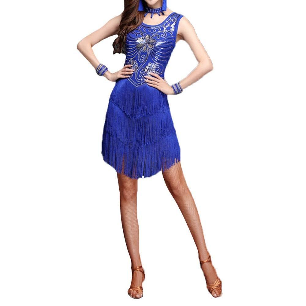 Royal bleu Robe lyrique de justaucorps de danse latine, Femmes paillettes paillettes embellies frange flapper robe de danse latine sans hommeches gland concours salle de bal vêtements de danse danse party performa Large