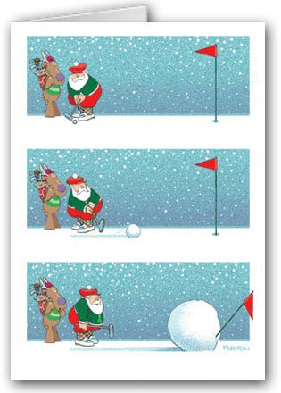 Snowball Putting Christmas Card - Funny 18 Cards & Envelopes
