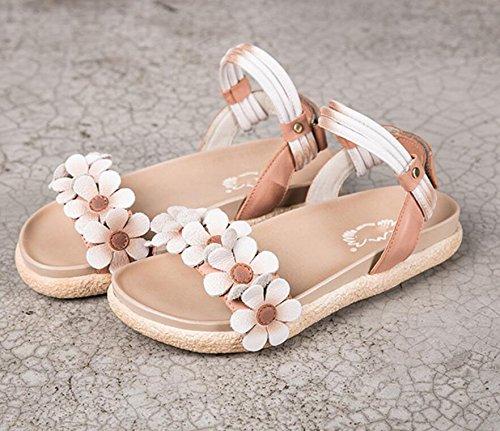 Grrong Sandali Donna Per Lestate Nuove Pantofole In Pelle Casual Moda Scarpe Piatte Retrò