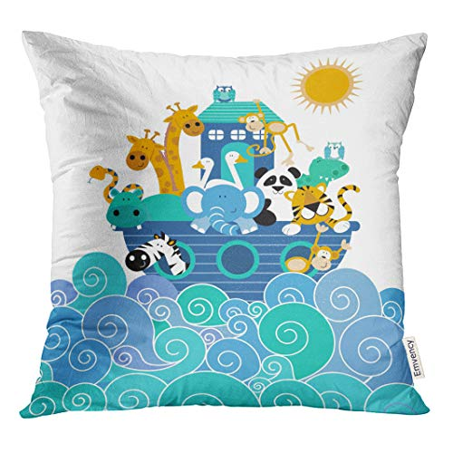 - Semtomn Decorative Throw Pillow Cover Square 16x16 Inches Pillowcase Pink Baby Noah Ark Blue Animals Jungle Nursery Kids Pillow Case Home Decor for Bedroom Couch Sofa
