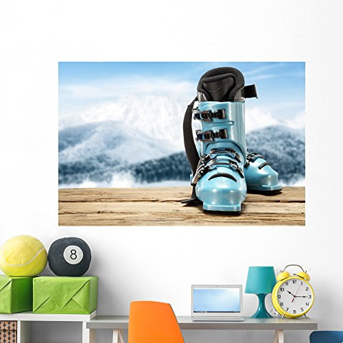 Wallmonkeys Ski Boots Wall Mural Peel and Stick Graphic (60 in W x 40 in H) WM366423