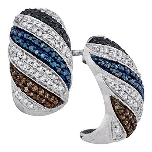 Roy Rose Jewelry 10K White Gold Ladies Black Blue Brown Colored Diamond Half Hoop Earrings 1/2 Carat tw ()