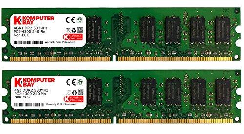 Komputerbay 8GB 2X 4GB DDR2 533MHz PC2-4200 PC2-4300 DDR2 533 (240 PIN) DIMM Desktop Memory -