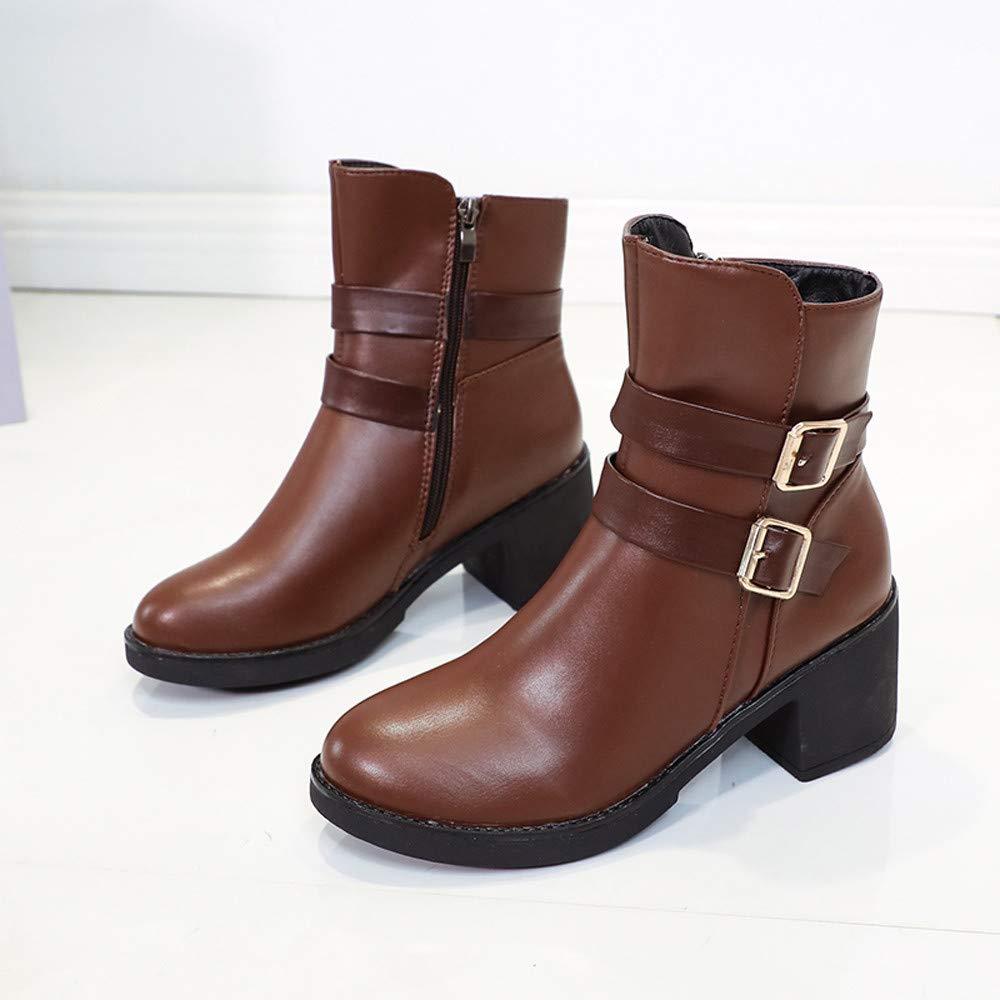 ❤ Botas Mujeres Cuñas, otoño Invierno Mediados de Tubo Zapatos Hebilla Correa Cuero Medio Botas Martin Botas Zapatos Botín Absolute: Amazon.es: Ropa y ...
