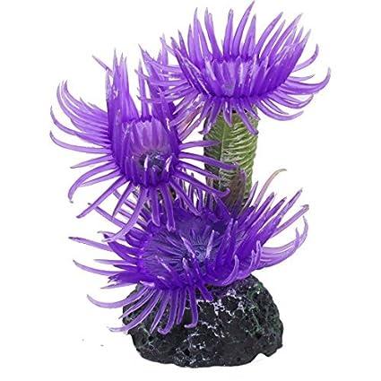 eDealMax Planta de agua peces de acuario tanque de la simulación Artificial Coral ornamento púrpura