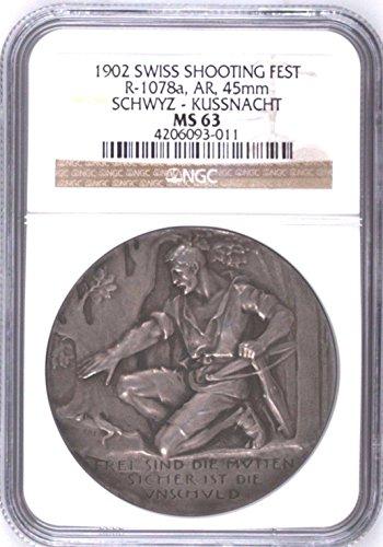 1902 CH Rare Swiss 1902 Silver Shooting Medal Schwyz Kuss coin Good