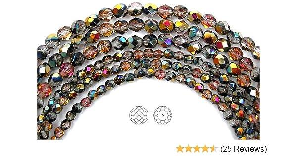 600 Preciosa Czech Glass Fire Polished Round Beads 4mm Topaz Santander Coated