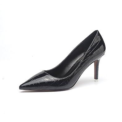 Unbekannt Damen Pumps Elegant OL Slip On Weich Lackleder Spitz Zehen Modisch Party Schuhe Bequem Büro Schuhe Schwarz 34 EU 22eZaKR