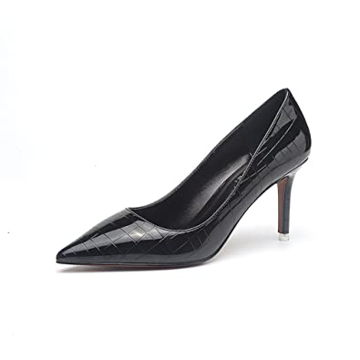Unbekannt Damen Pumps Elegant OL Slip On Weich Lackleder Spitz Zehen Modisch Party Schuhe Bequem Büro Schuhe Schwarz 35 EU K0OUanVrq