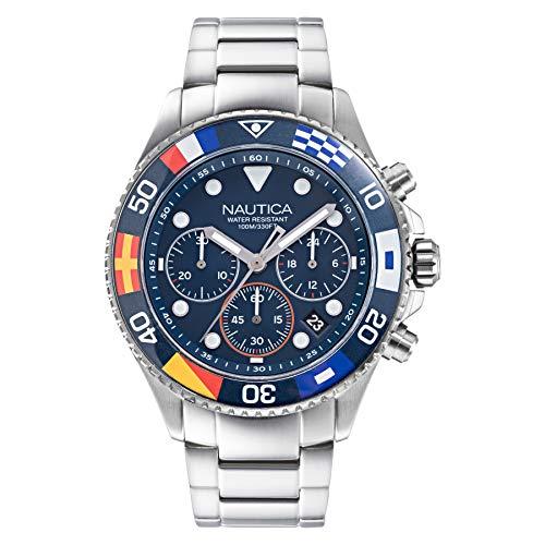 Nautica Men's NAPWPF909 Wesport Silver/Navy Stainless Steel Bracelet Watch