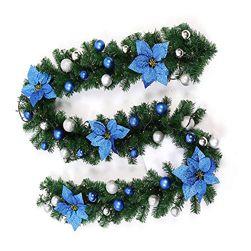 Fannybuy 9ft Christmas Garland Decorations Green Artificial Pine Wreath Garland for Mantelpiece Door Decoration Indoors Outdoors (1 Pack Blue with Light)