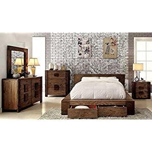 Janeiro Collection Eastern King Size Bed Rustic Natural Tone Finish Low Profile Bed w Storage Drawers FB Bedroom…