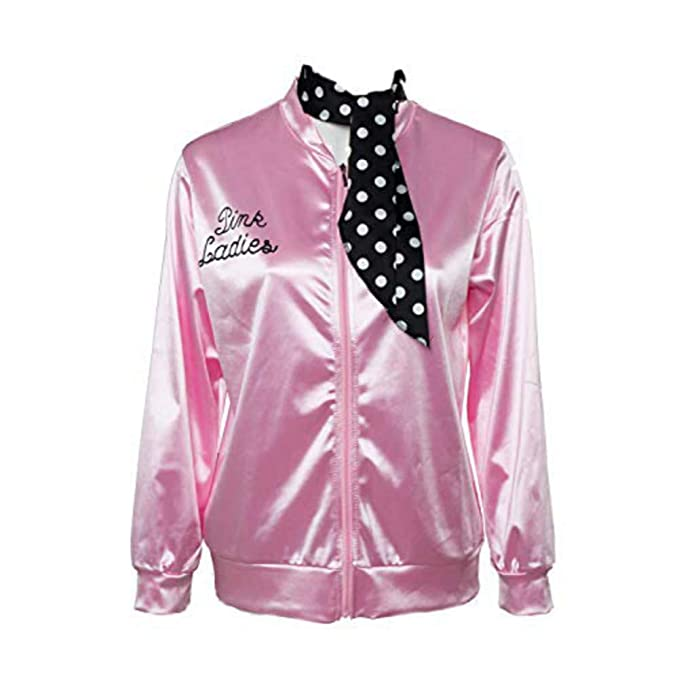50S T-Bird Danny Pink Ladies Satin Jacket Costume with Polka Dot Scarf