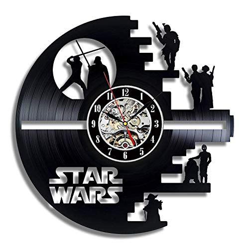 (Death Star Vinyl Record Wall Clock - Contemporary Star Wars Fan Art Design - Get Unique Living Room Wall Decor - Gift Ideas for His and Her)