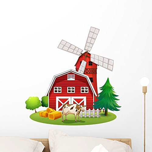 Wallmonkeys Red Barnhouse Farm Wall Decal Peel and Stick Graphic (24 in H x 23 in W) (Largest Wind Farm)
