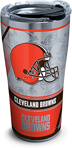 Tervis 1266035 NFL Cleveland Browns Edge Stainless Steel Tumbler with Clear and Black Hammer Lid 20oz, Silver Cleveland Browns Travel Mug