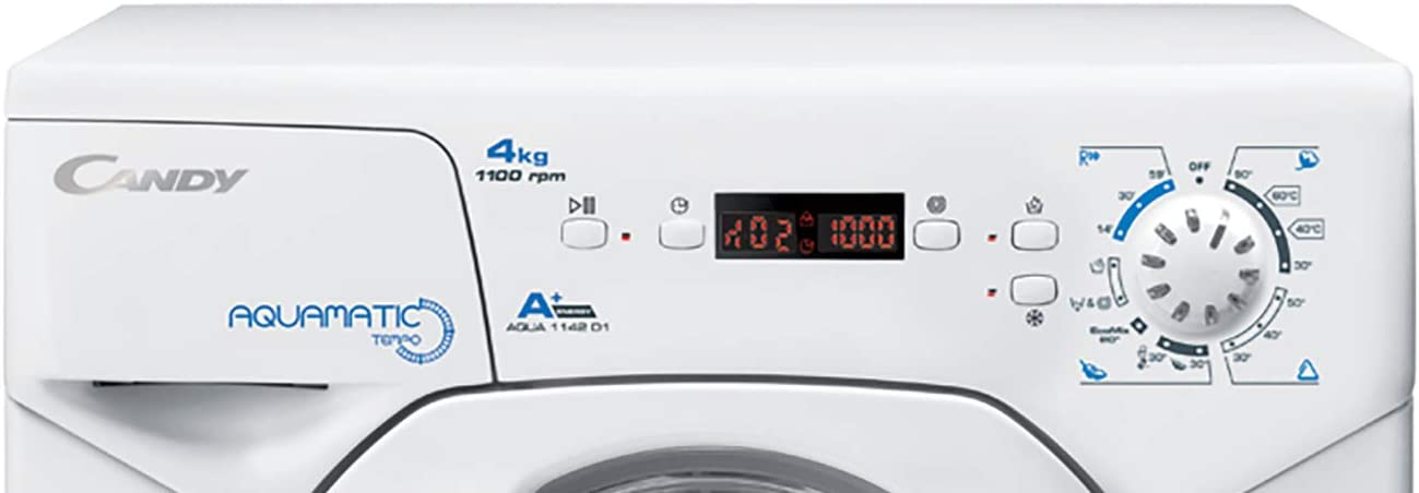 Candy AQUA 1142D1/2-S - Lavadora pequeña carga frontal 4Kgs, 8 programas, 1100rpm, 51cm ancho, display digital, clase A+AB, color blanco: 369.05: Amazon.es: Grandes electrodomésticos