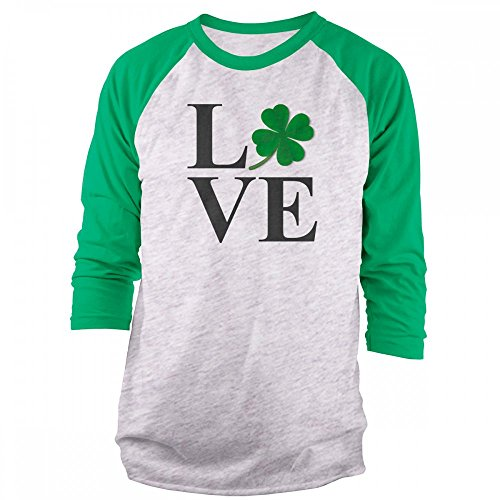 Vine Fresh Tees - Love St Patrick's Day 3/4 Sleeve Raglan T-Shirt - Large, Ash w/Kelly