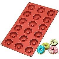 Ozera Silicone Mini Donut Pan, Muffin Cups, Molde De Pastel, Molde Para Galletas, 18 Cavidades, Rojo