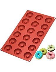 Ozera Silicone Mini Donut Pan, Muffin Cups, Cake Mold, Biscuit Mold, 18 Cavity, Red