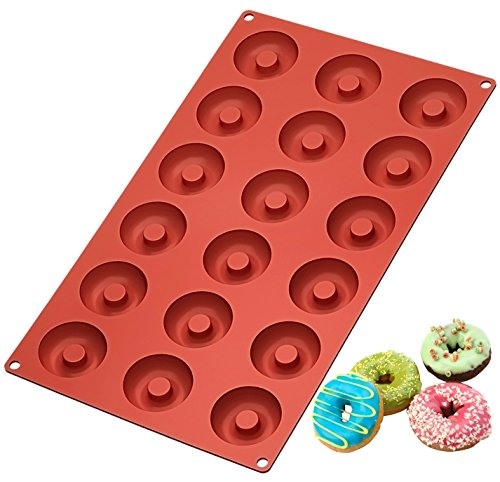 Mini Mold - Ozera Silicone Mini Donut Pan, 18 Cavity Doughnut Baking Mold Tray - Muffin Cups, Cake Mold, Biscuit Mold, Red