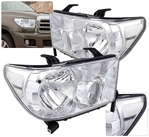 Ajp Distributors Replacement Driving Head Lights Lamps Assembly Lh Rh Chrome Housing Clear Lens For Toyota Tundra