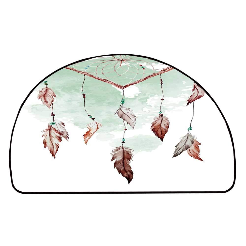 C COABALLA Feather Comfortable Semicircle Mat,Watercolor Vibrant Dream Catcher with Ornamental Elements Traditional Design Decorative for Living Room,37.4'' H x 74.8'' L