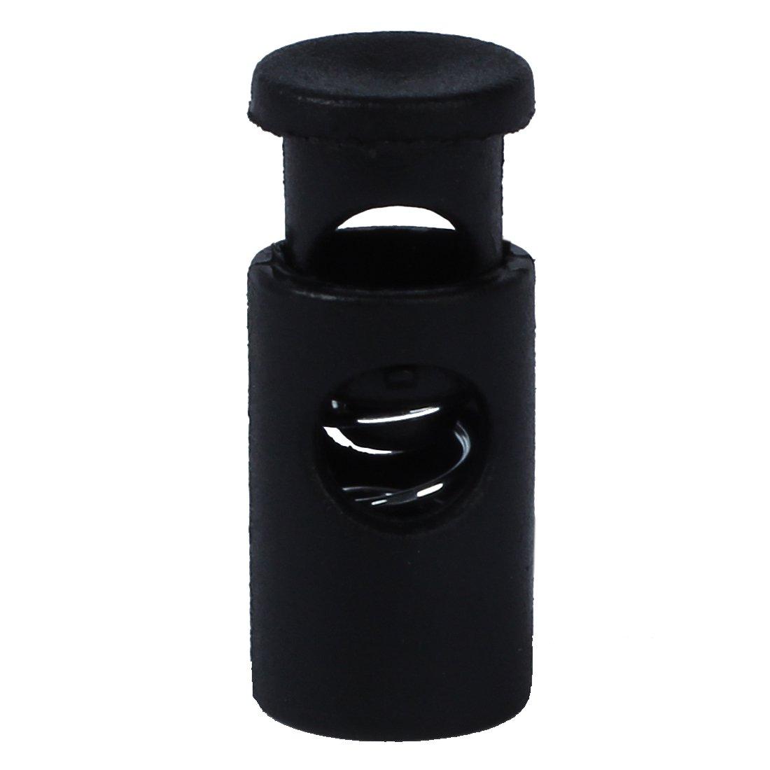 TOOGOO(R) Black Plastic Toggle Spring Stop Single Hole Rope Cord Locks 20 Pcs