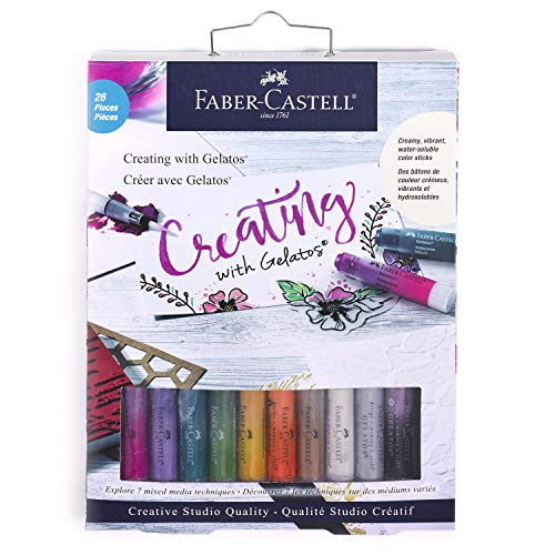 Faber-Castell Creating with Gelatos – Mixed Media Water-Soluble Art Crayons and Accessory Set - Arts and Crafts for Adults, Multi