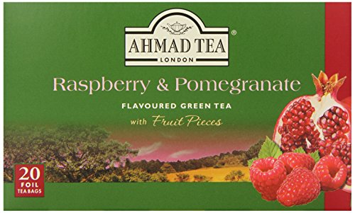 Ahmad Tea Foil-Enveloped Teabags Green Tea, Raspberry and Pomegranate, 20 Count (Pack of 6)