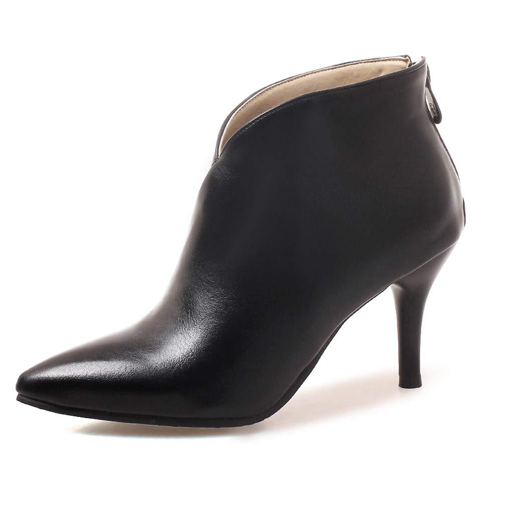 OALEEN Bottine Pointue Femme 19462 Talon Haut Aiguille Effet Cuir Bottine Classique Zip Low Boots Noir Classique dca09e6 - robotanarchy.space