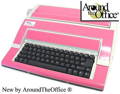 Portable Typewriter in Vibrant Pink Color with Standard Office Keyboard Designed in America by Around The Office … Great Holiday Gift Idea. by Around The Office
