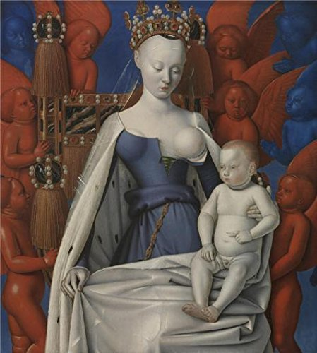 (Oil Painting 'Jean Fouquet - Madonna Surrounded By Seraphim And Cherubim, 1452', 8 x 9 inch / 20 x 23 cm , on High Definition HD canvas prints, gifts for Gym, Laundry Room And Living Room Decoration)