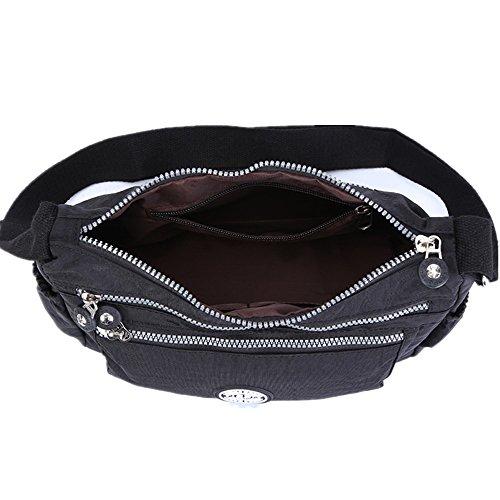 Casual Body Multi Handbag Pocket Black Travel Messenger Cross Bag Bag Womens xwAOdn8w